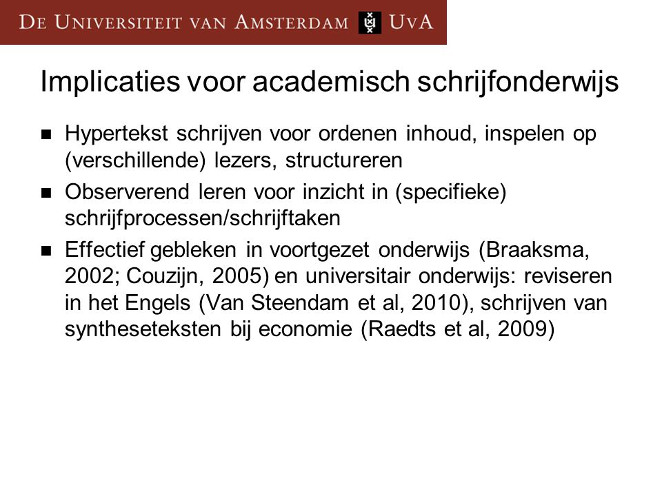 Implicaties voor academisch schrijfonderwijs