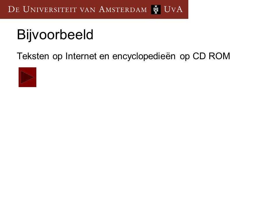 Bijvoorbeeld Teksten op Internet en encyclopedieën op CD ROM