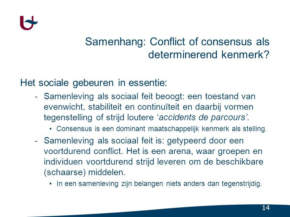 Samenhang: conflict / consensus (tweede dimensie)