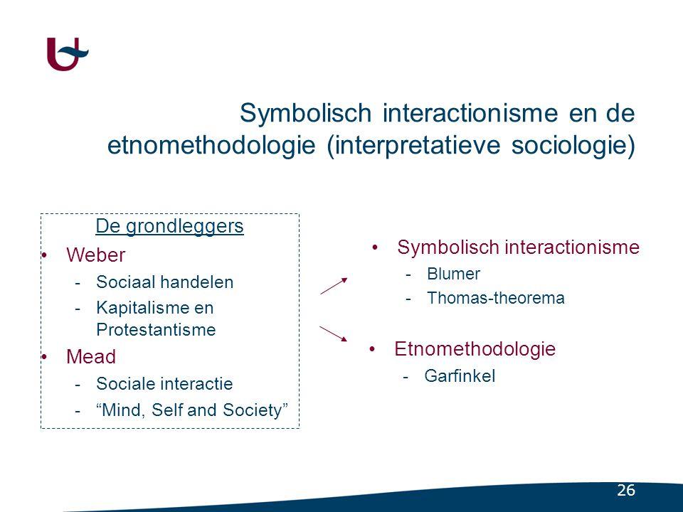3.2.1 De grondleggers: - Weber (sociaal handelen) - Mead (sociale interactie)