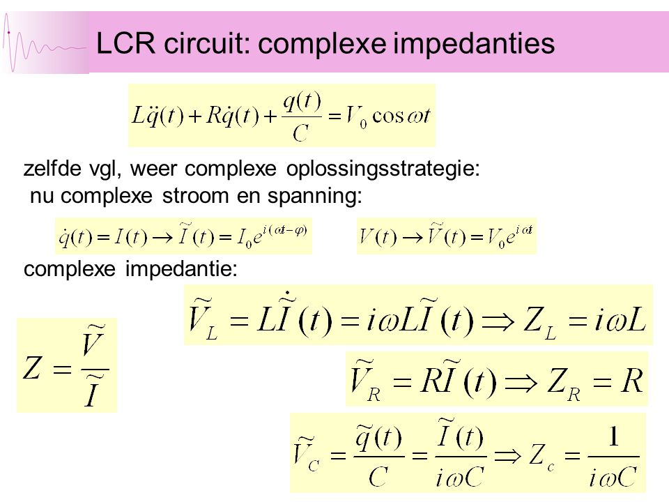 LCR circuit: complexe impedanties