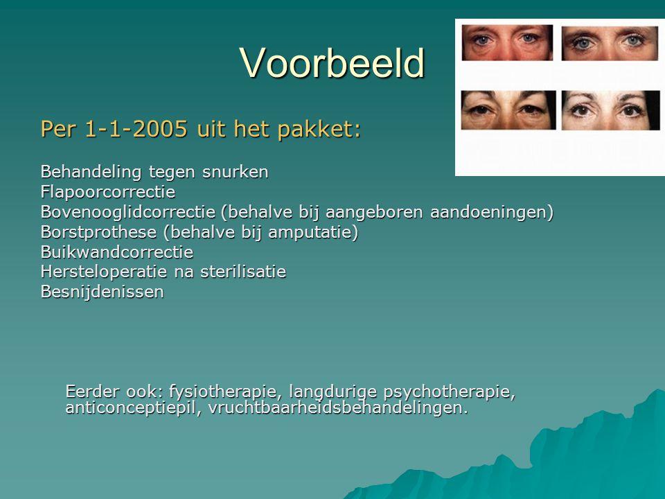 Voorbeeld Per 1-1-2005 uit het pakket: Behandeling tegen snurken