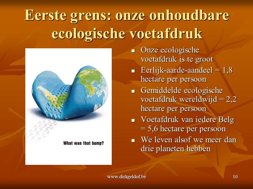 Eerste grens: onze onhoudbare ecologische voetafdruk
