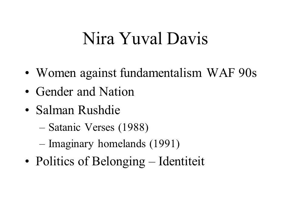 Nira Yuval Davis Women against fundamentalism WAF 90s
