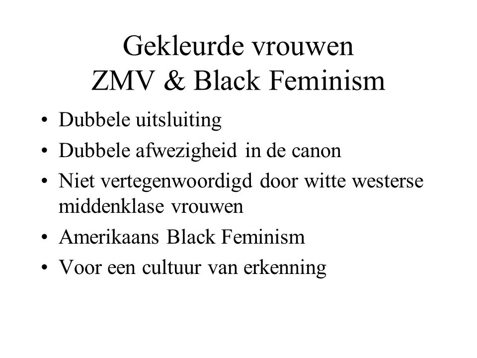 Gekleurde vrouwen ZMV & Black Feminism