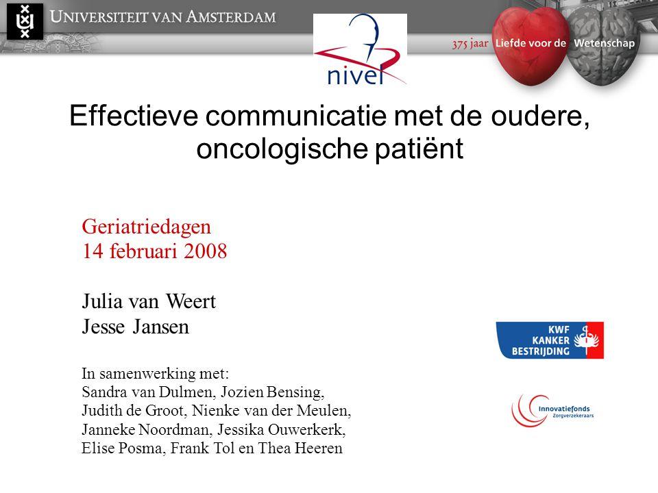 Effectieve communicatie met de oudere, oncologische patiënt