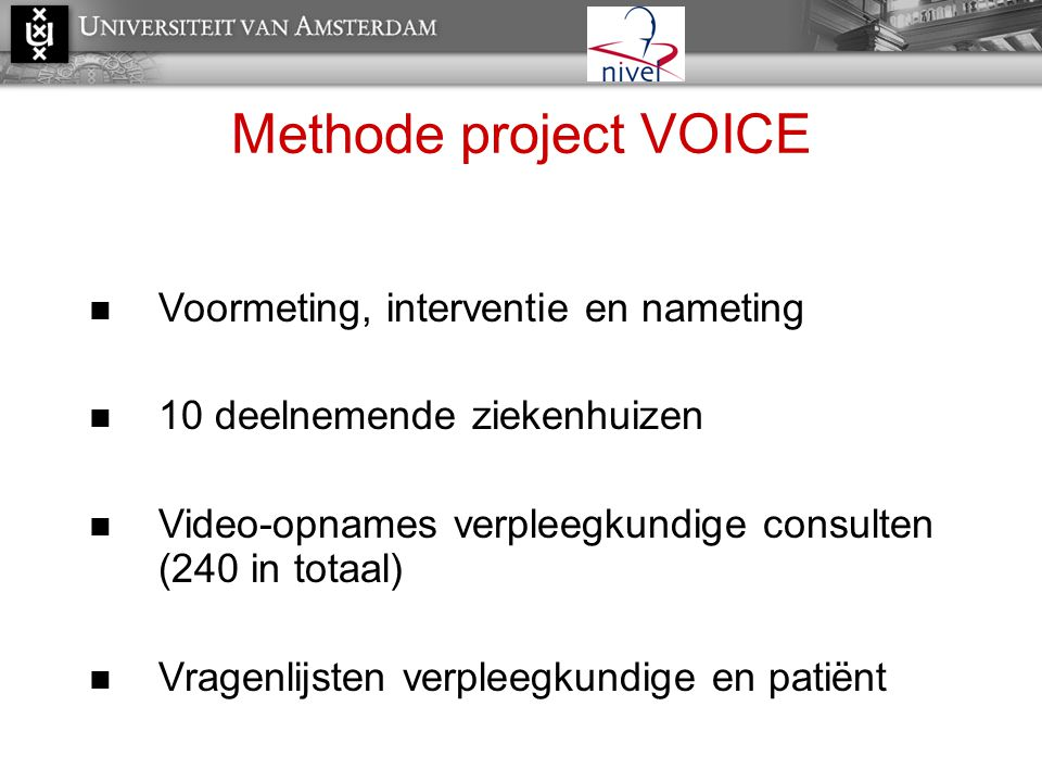 Methode project VOICE Voormeting, interventie en nameting
