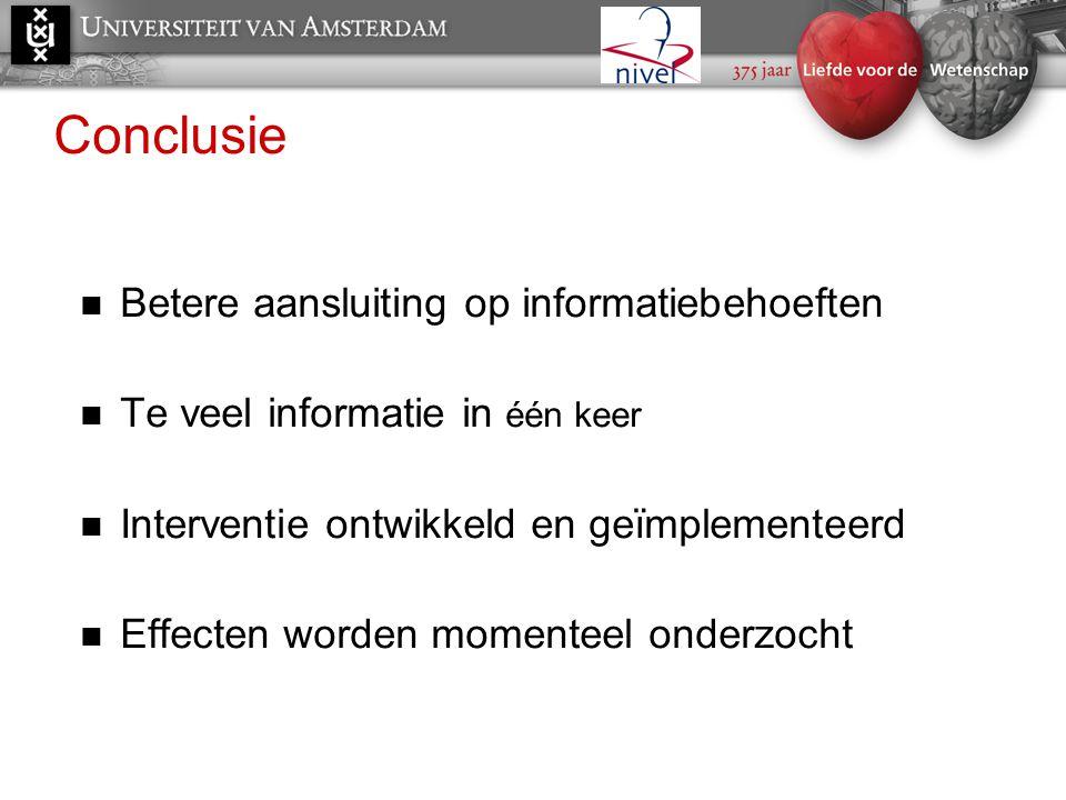 Conclusie Betere aansluiting op informatiebehoeften