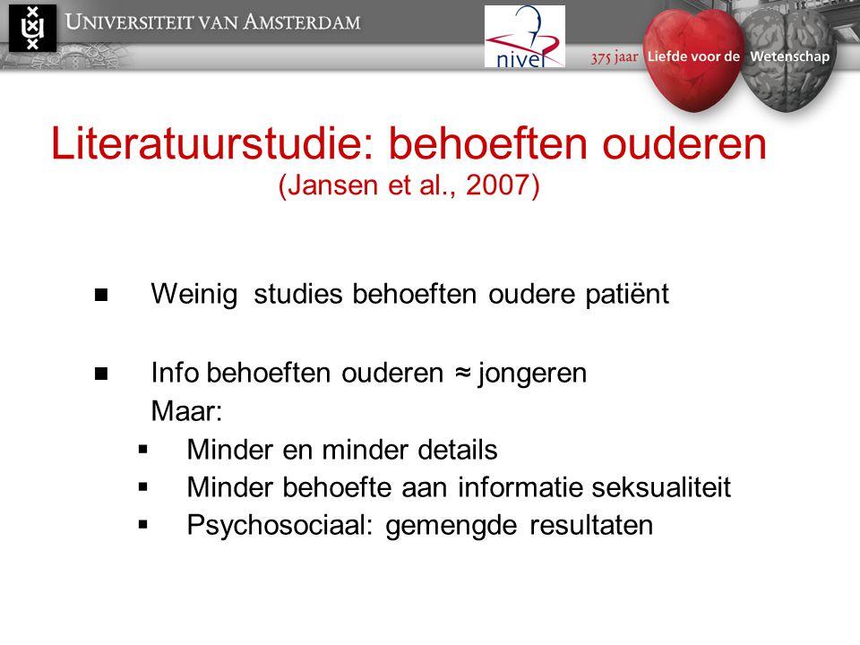 Literatuurstudie: behoeften ouderen (Jansen et al., 2007)