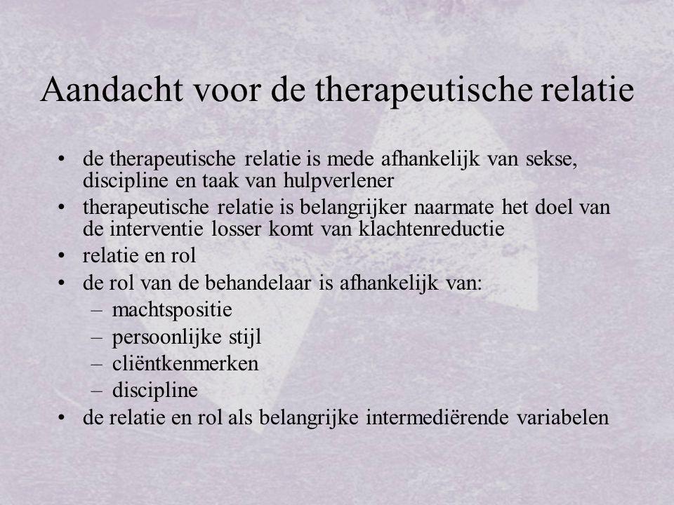 Aandacht voor de therapeutische relatie