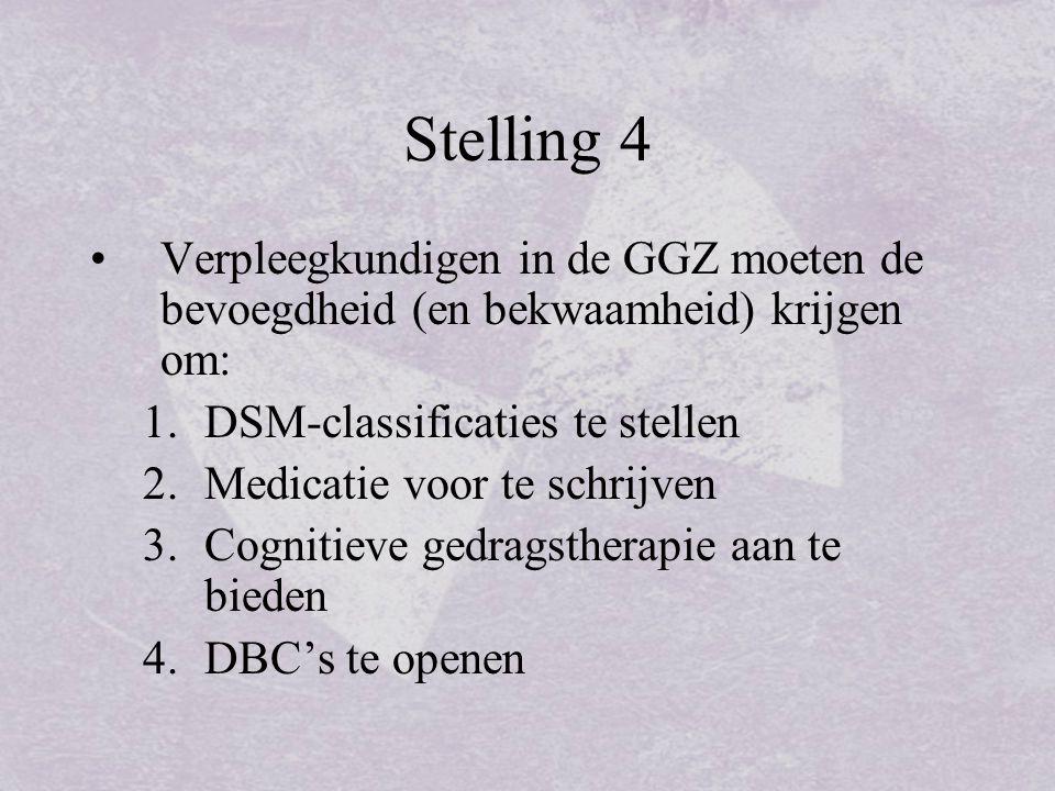 Stelling 4 Verpleegkundigen in de GGZ moeten de bevoegdheid (en bekwaamheid) krijgen om: DSM-classificaties te stellen.