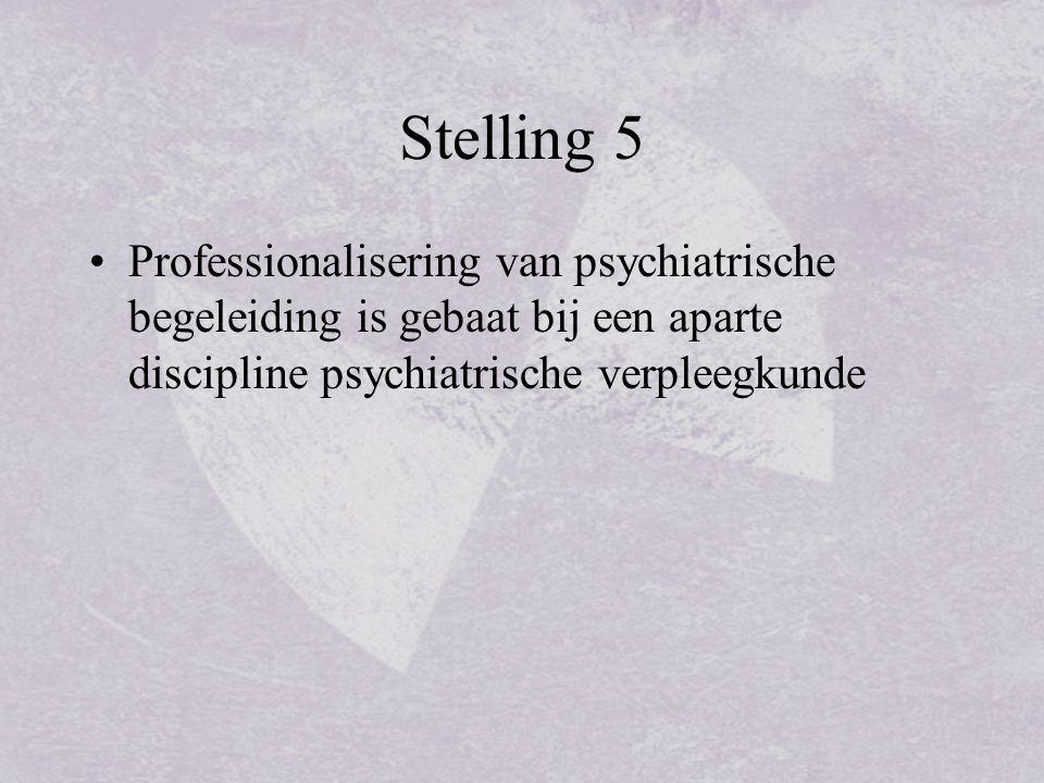 Stelling 5 Professionalisering van psychiatrische begeleiding is gebaat bij een aparte discipline psychiatrische verpleegkunde.
