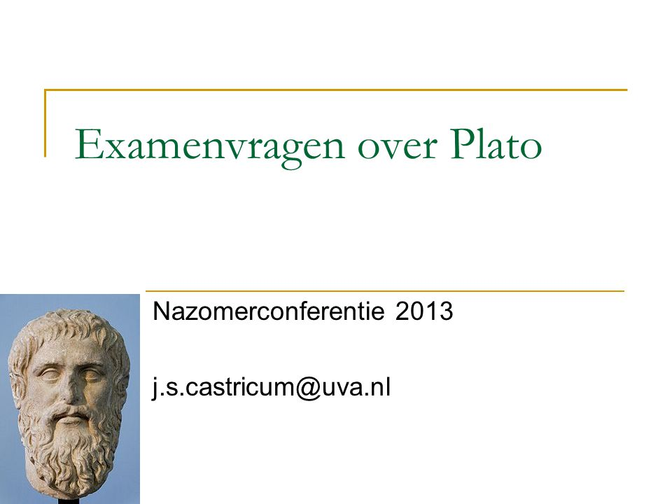 Examenvragen over Plato
