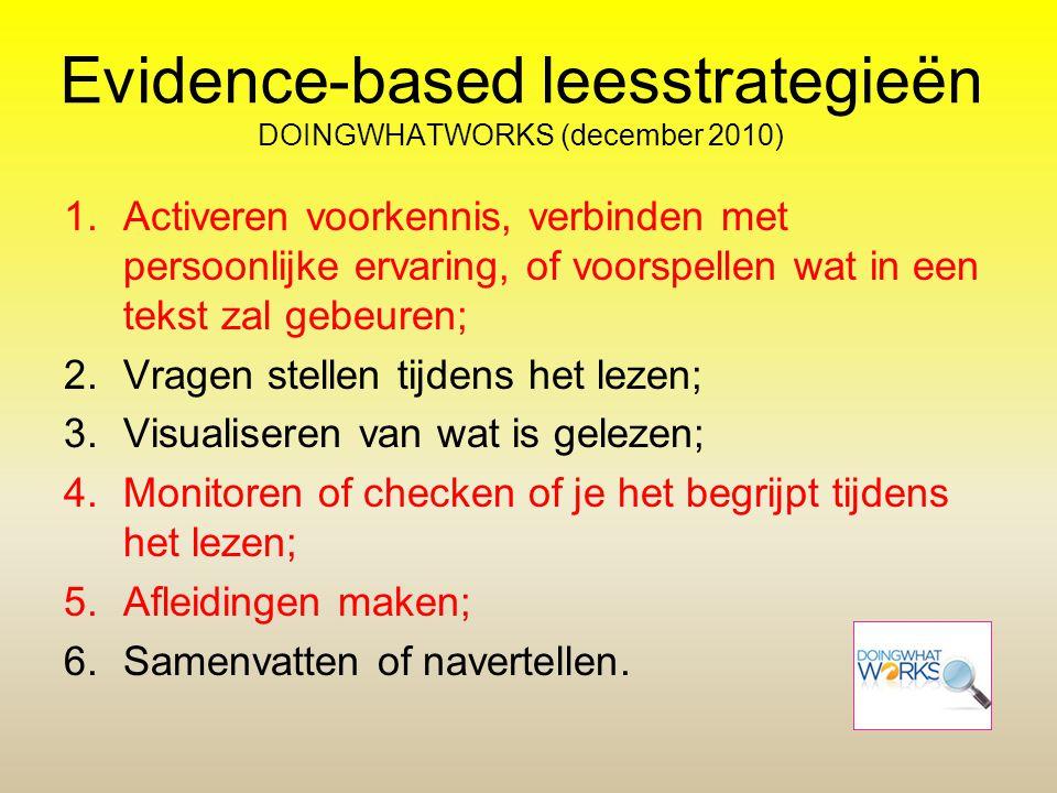 Evidence-based leesstrategieën DOINGWHATWORKS (december 2010)