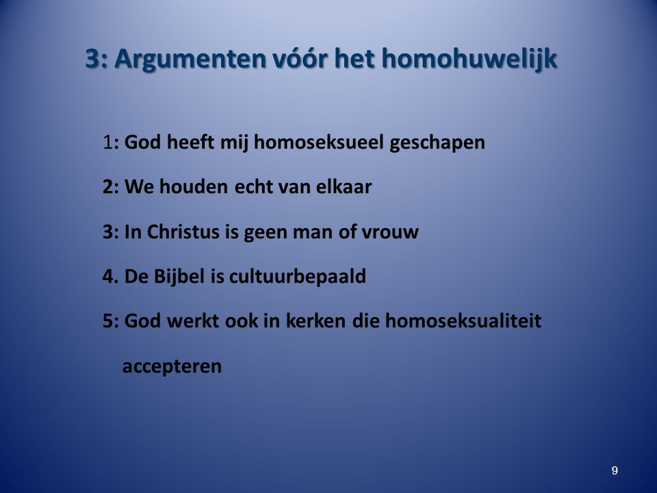3: Argumenten vóór het homohuwelijk