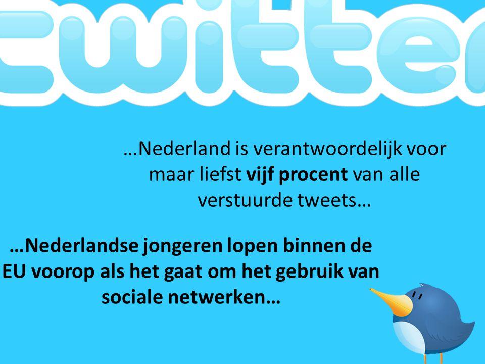 …Nederland is verantwoordelijk voor maar liefst vijf procent van alle verstuurde tweets…
