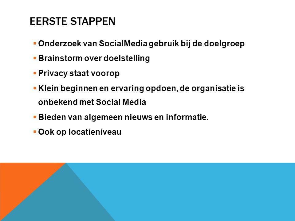 Eerste stappen Onderzoek van SocialMedia gebruik bij de doelgroep