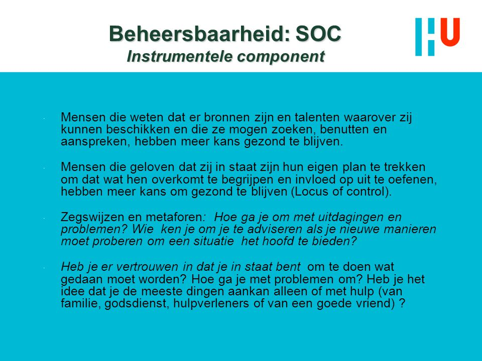 Beheersbaarheid: SOC Instrumentele component