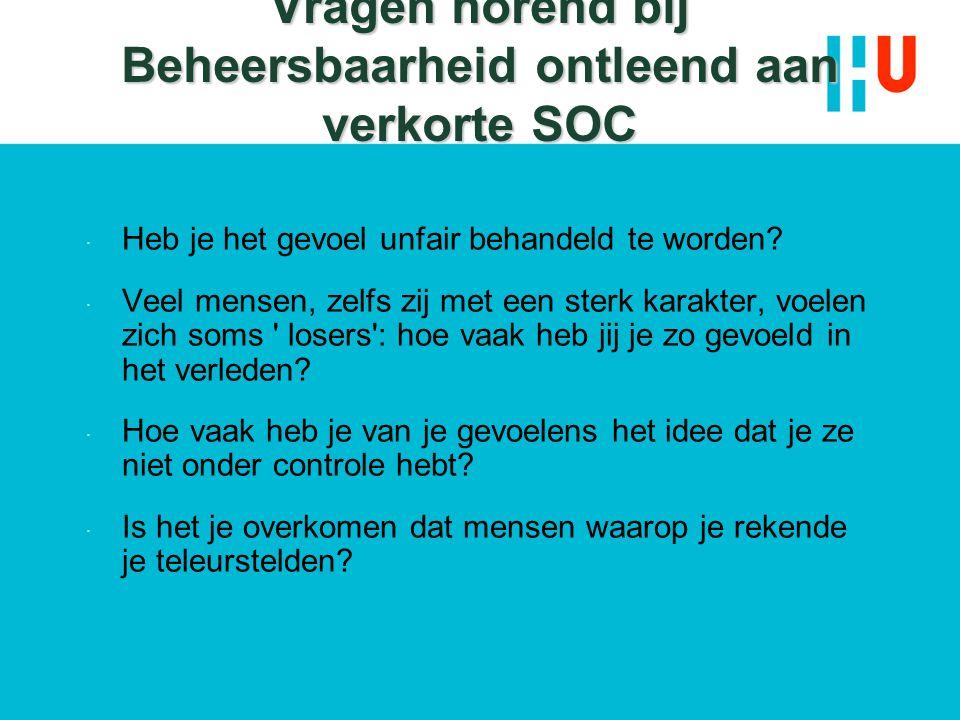 Vragen horend bij Beheersbaarheid ontleend aan verkorte SOC