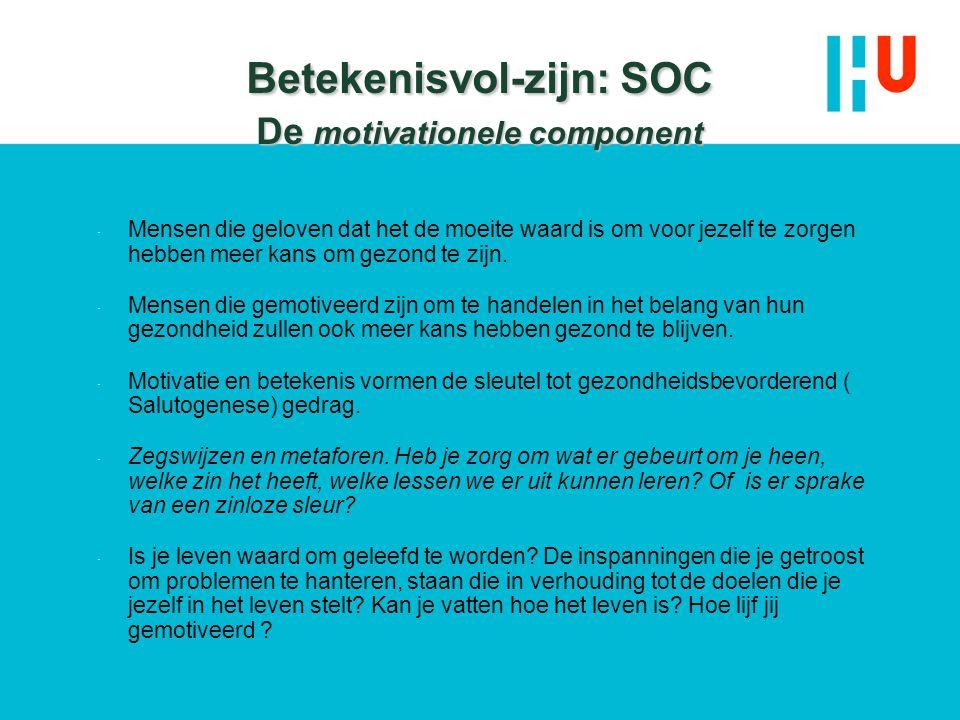 Betekenisvol-zijn: SOC De motivationele component