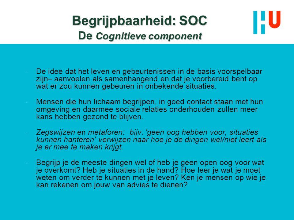 Begrijpbaarheid: SOC De Cognitieve component