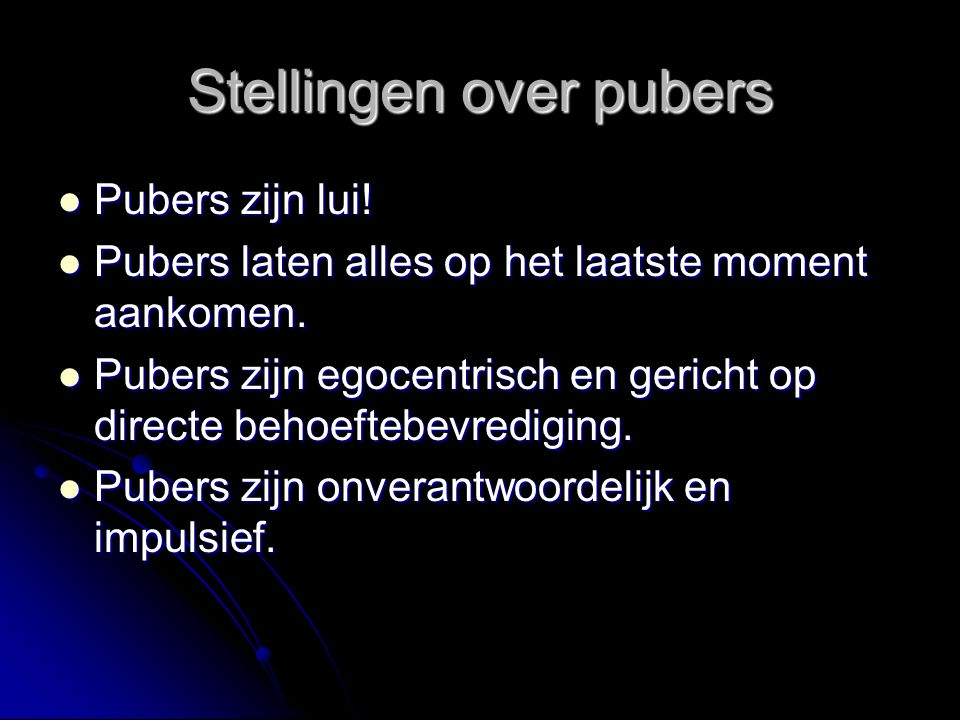 Stellingen over pubers