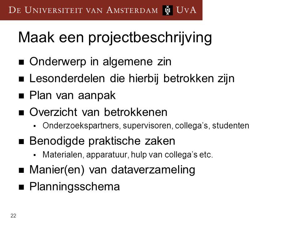 Maak een projectbeschrijving