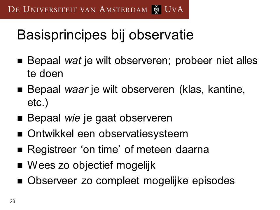 Basisprincipes bij observatie