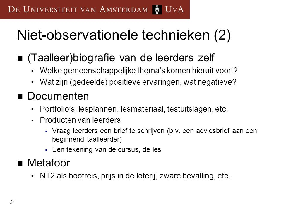 Niet-observationele technieken (2)