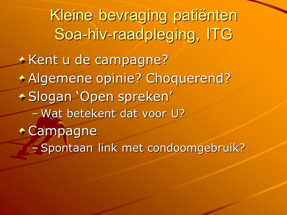 Kleine bevraging patiënten Soa-hiv-raadpleging, ITG