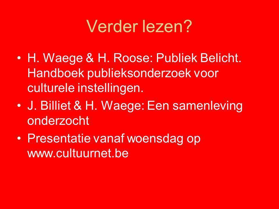 Verder lezen H. Waege & H. Roose: Publiek Belicht. Handboek publieksonderzoek voor culturele instellingen.