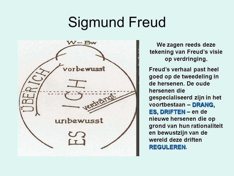 We zagen reeds deze tekening van Freud's visie op verdringing.