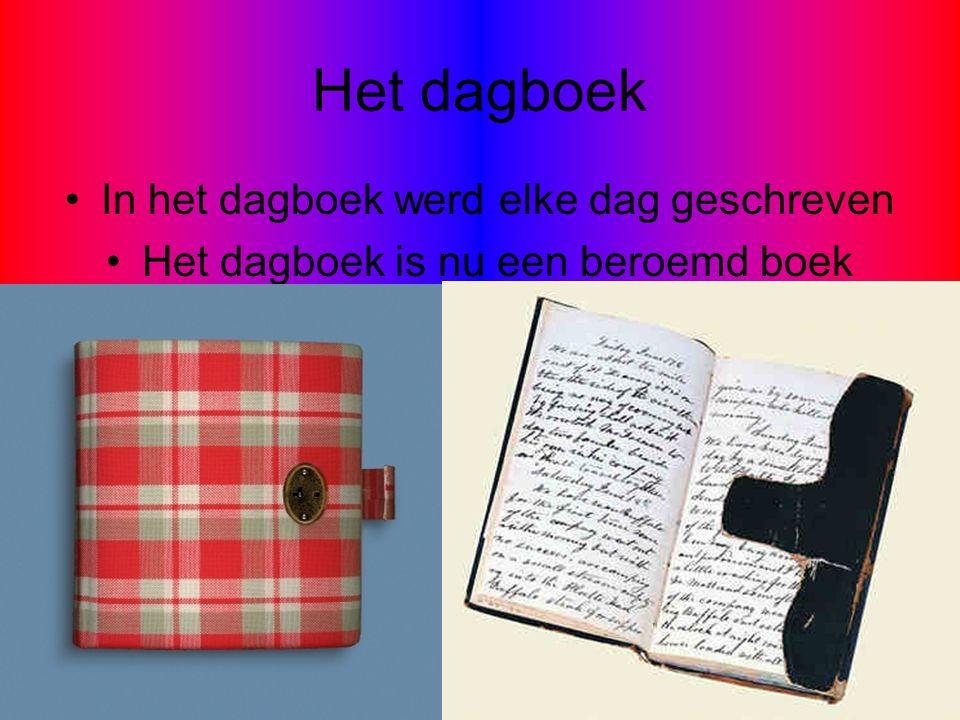 Het dagboek In het dagboek werd elke dag geschreven