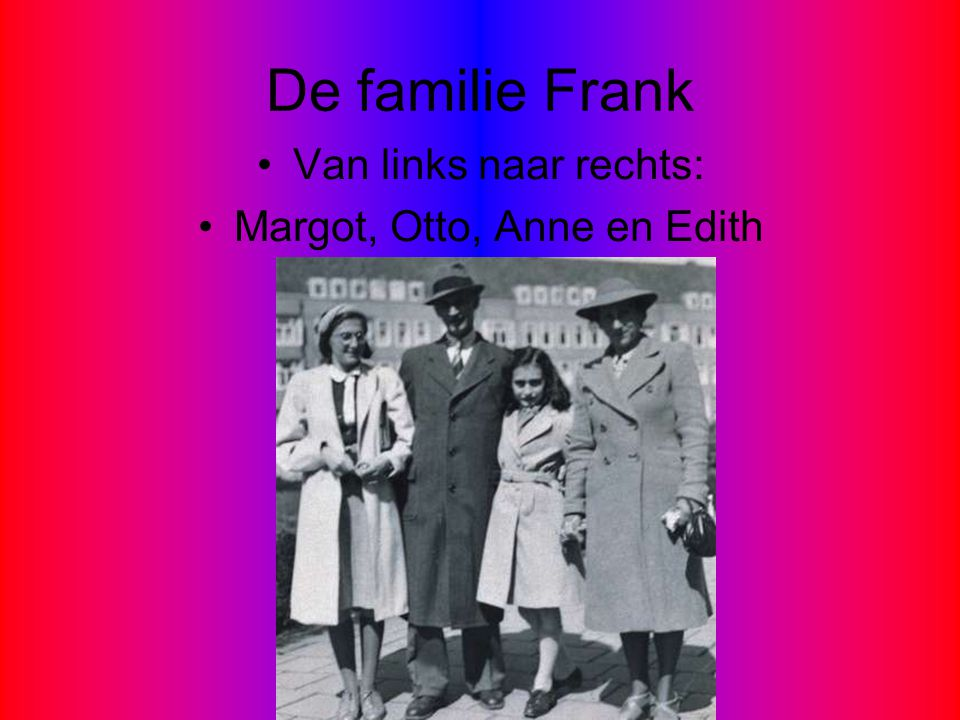 Margot, Otto, Anne en Edith