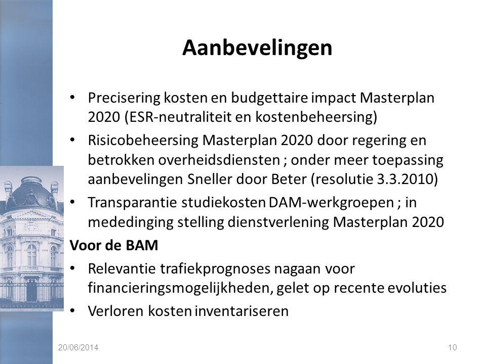 Aanbevelingen Precisering kosten en budgettaire impact Masterplan 2020 (ESR-neutraliteit en kostenbeheersing)