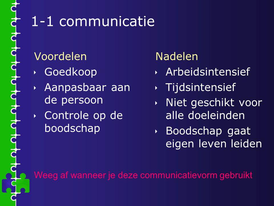 1-1 communicatie Voordelen Goedkoop Aanpasbaar aan de persoon