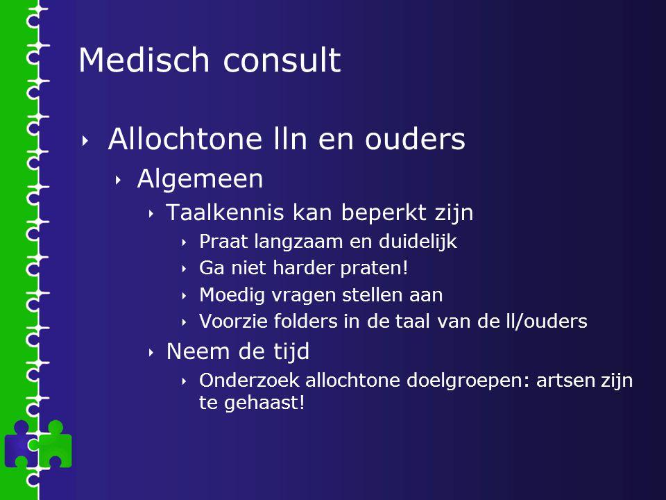 Medisch consult Allochtone lln en ouders Algemeen