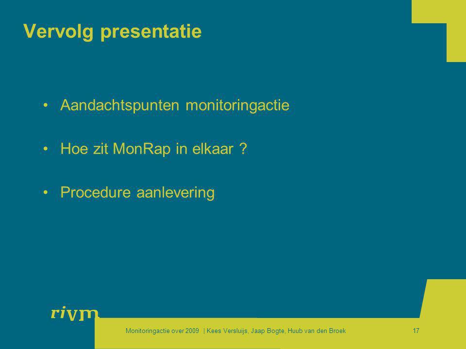 Vervolg presentatie Aandachtspunten monitoringactie