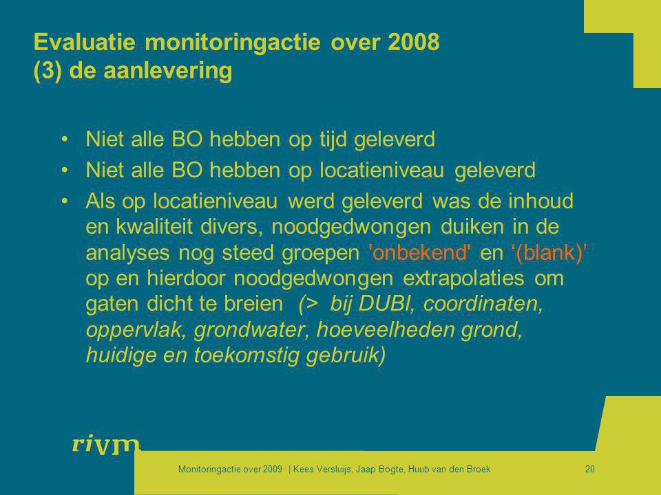 Evaluatie monitoringactie over 2008 (3) de aanlevering