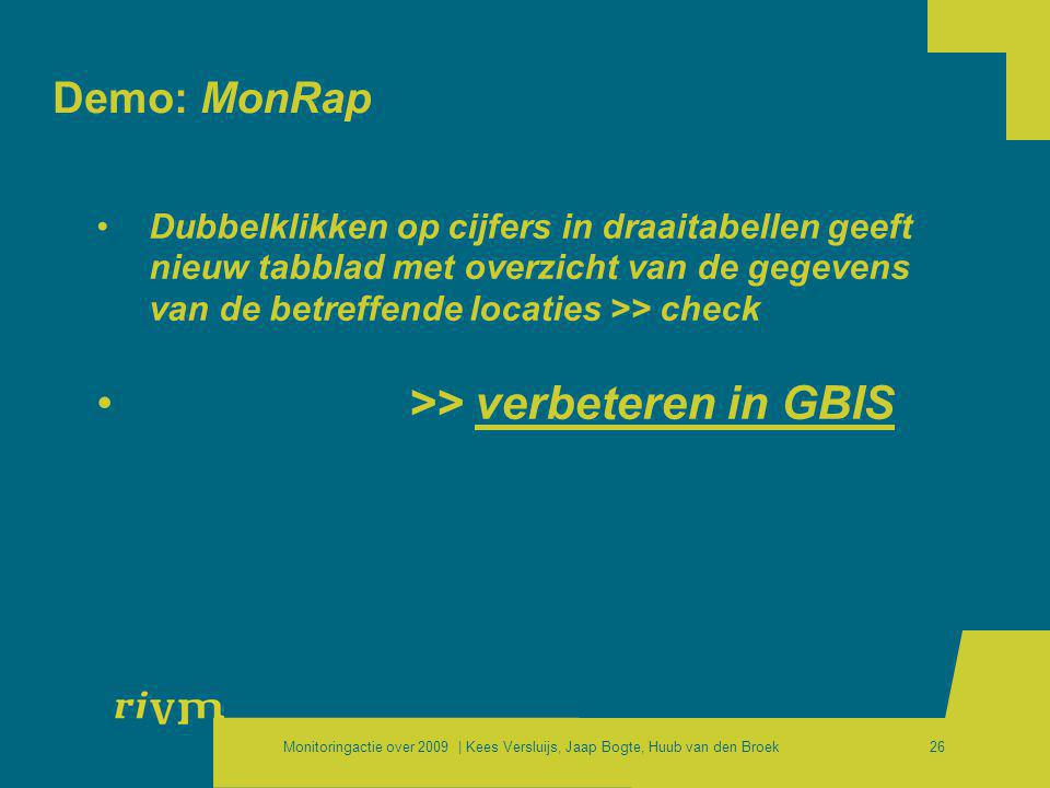 >> verbeteren in GBIS