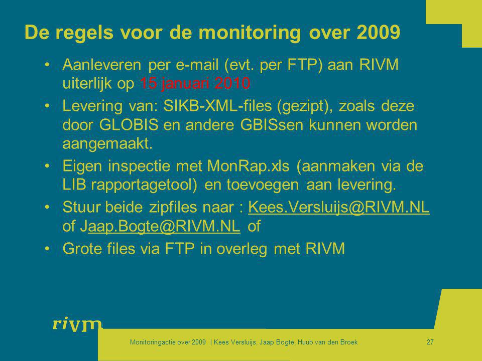 De regels voor de monitoring over 2009