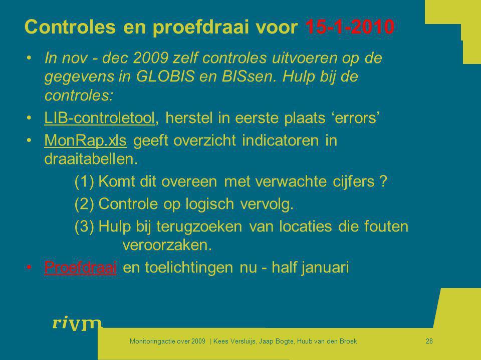 Controles en proefdraai voor 15-1-2010