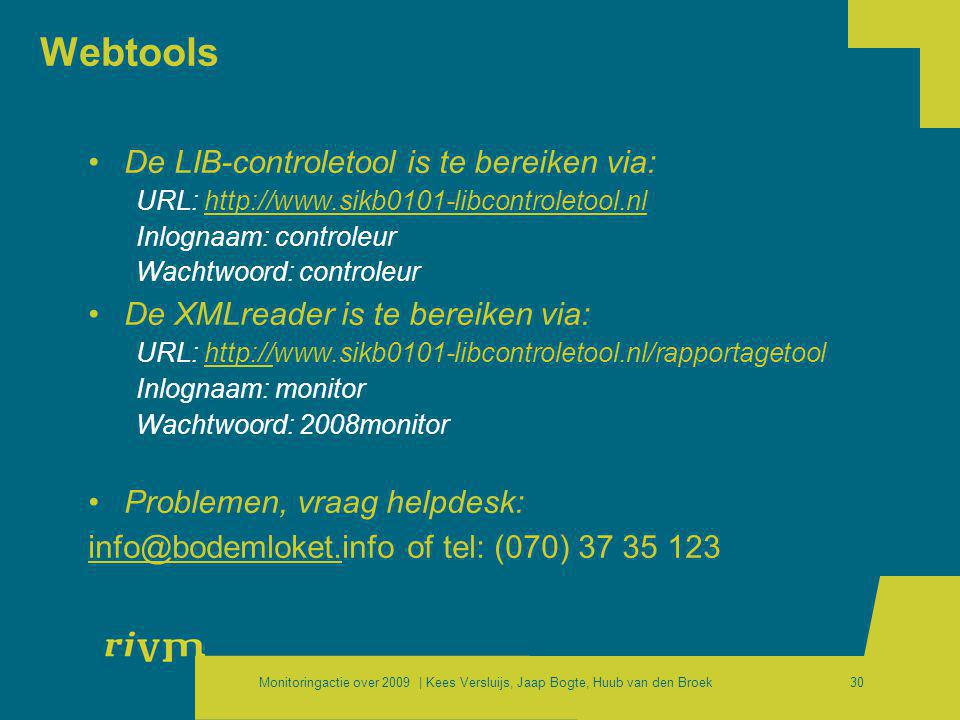 Webtools De LIB-controletool is te bereiken via: