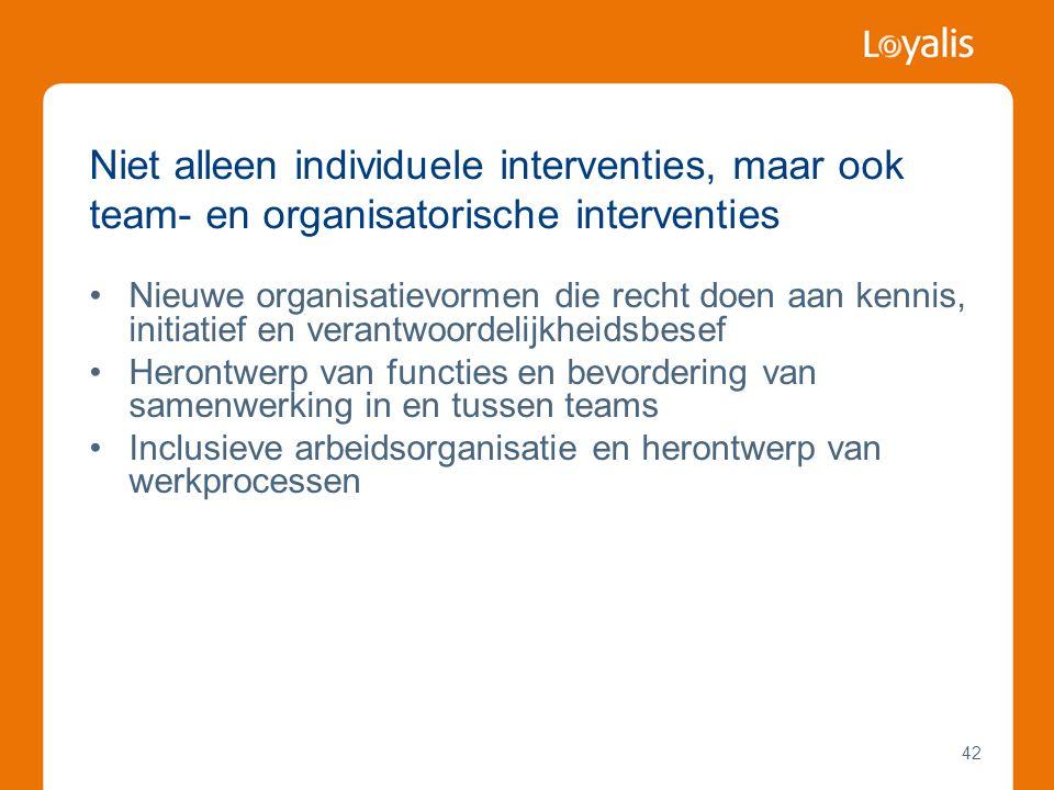 Niet alleen individuele interventies, maar ook team- en organisatorische interventies
