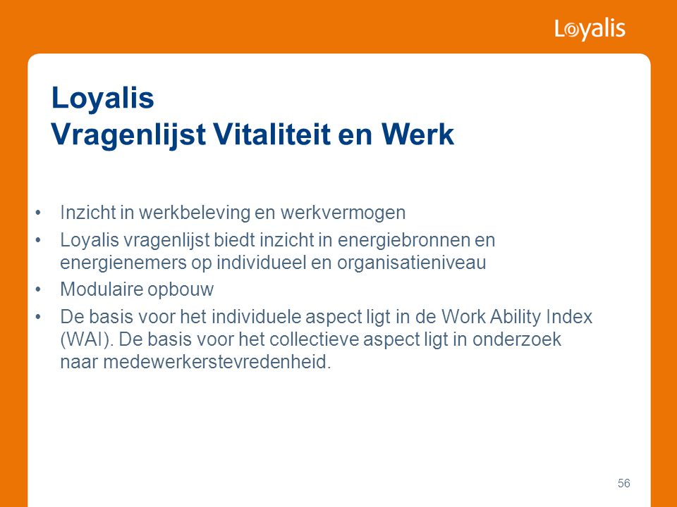 Loyalis Vragenlijst Vitaliteit en Werk