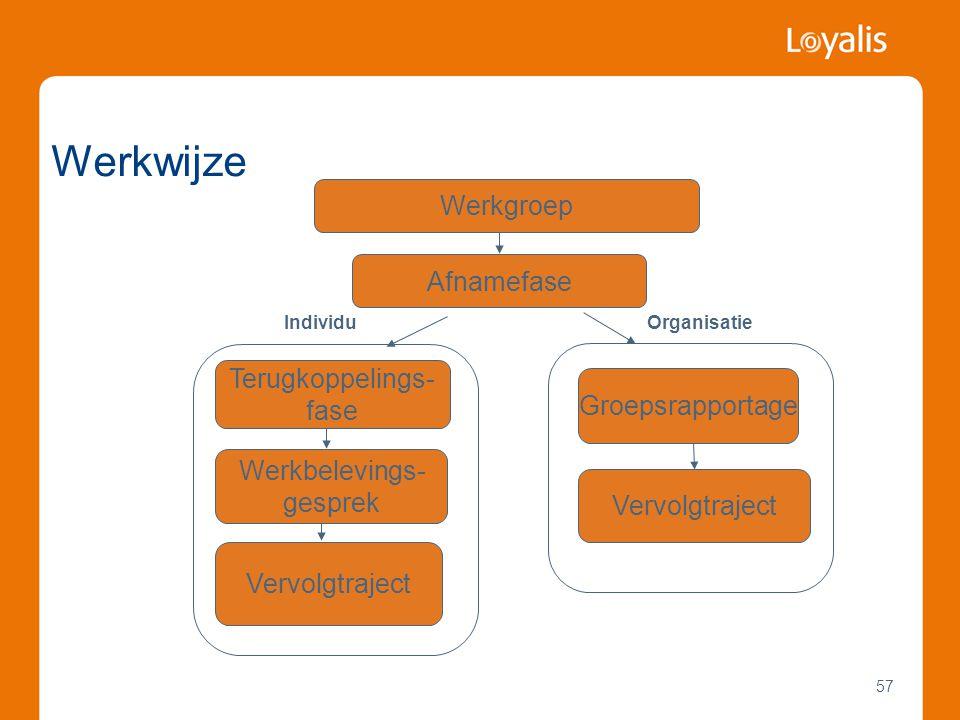 Werkwijze Werkgroep Afnamefase Terugkoppelings- fase Groepsrapportage