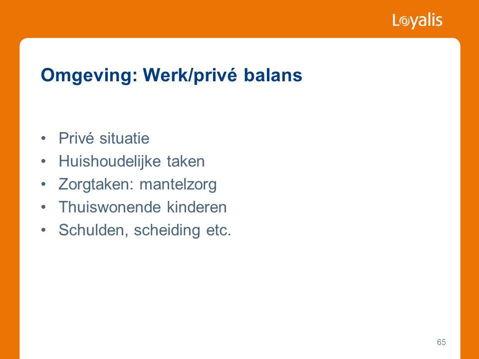 Omgeving: Werk/privé balans