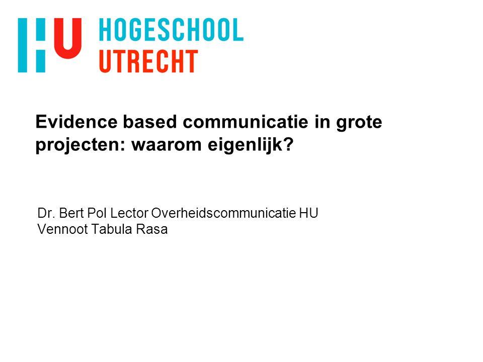 Evidence based communicatie in grote projecten: waarom eigenlijk