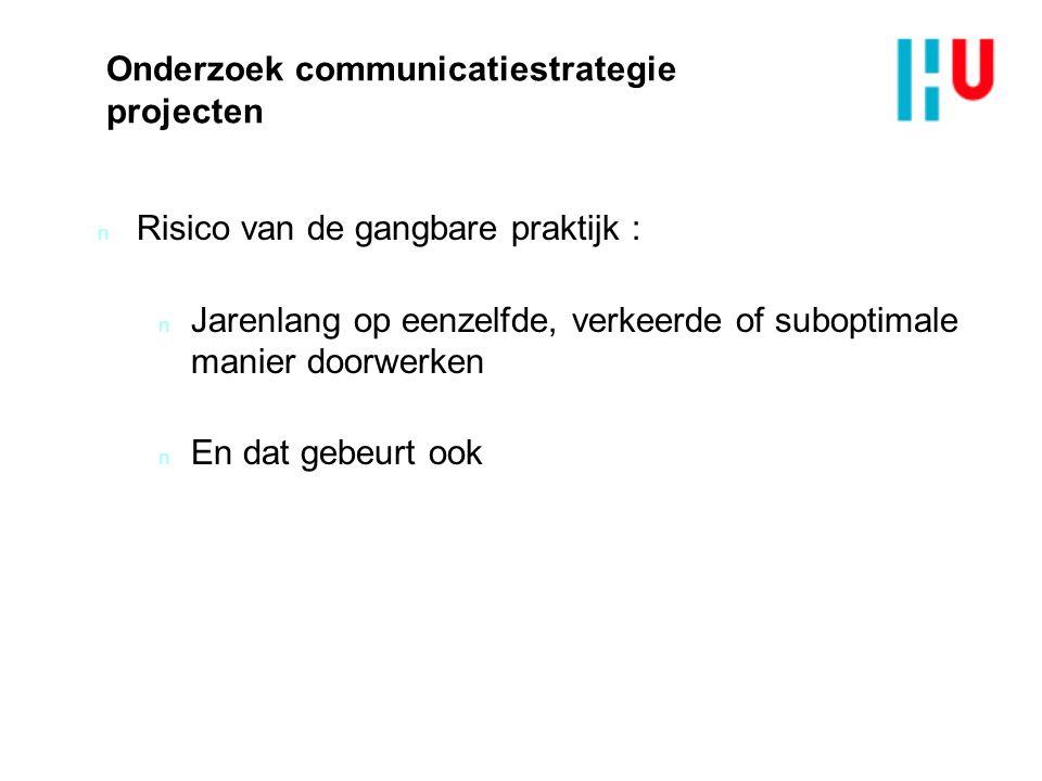 Onderzoek communicatiestrategie projecten