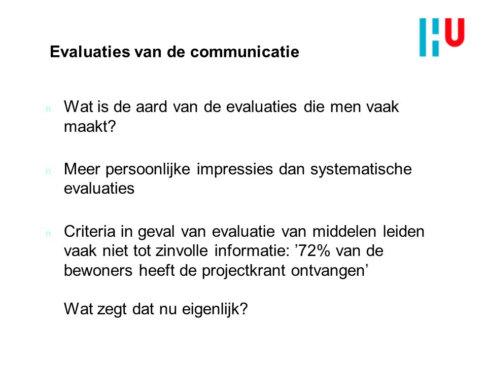 Evaluaties van de communicatie